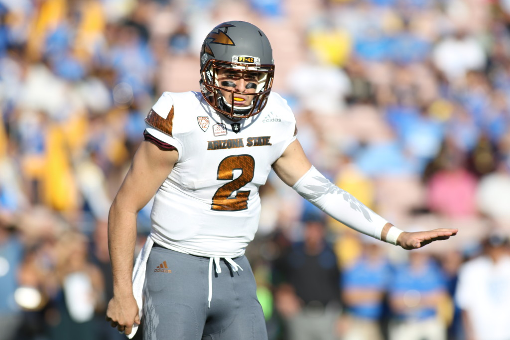 03 Oct. 2015: Arizona State Sun Devils quarterback (2) Mike Bercovici in action during a game against the UCLA Bruins played at the Rose Bowl in Pasadena, CA. (Photo By Jevone Moore/Full Image 360)