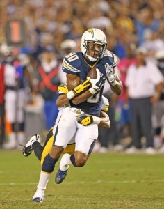 October 12, 2015 - San Diego Chargers Wide Receiver Malcom Floyd (80) during the NFL football game between the Pittsburg Steelers and the San Diego Chargers at Qualcomm Stadium in San Diego, California. (Photo by Kevin Carden)