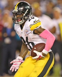 October 12, 2015 - Pittsburgh Steelers Running Back  Le'Veon Bell (26) during the NFL football game between the Pittsburg Steelers and the San Diego Chargers at Qualcomm Stadium in San Diego, California. (Photo by Kevin Carden)