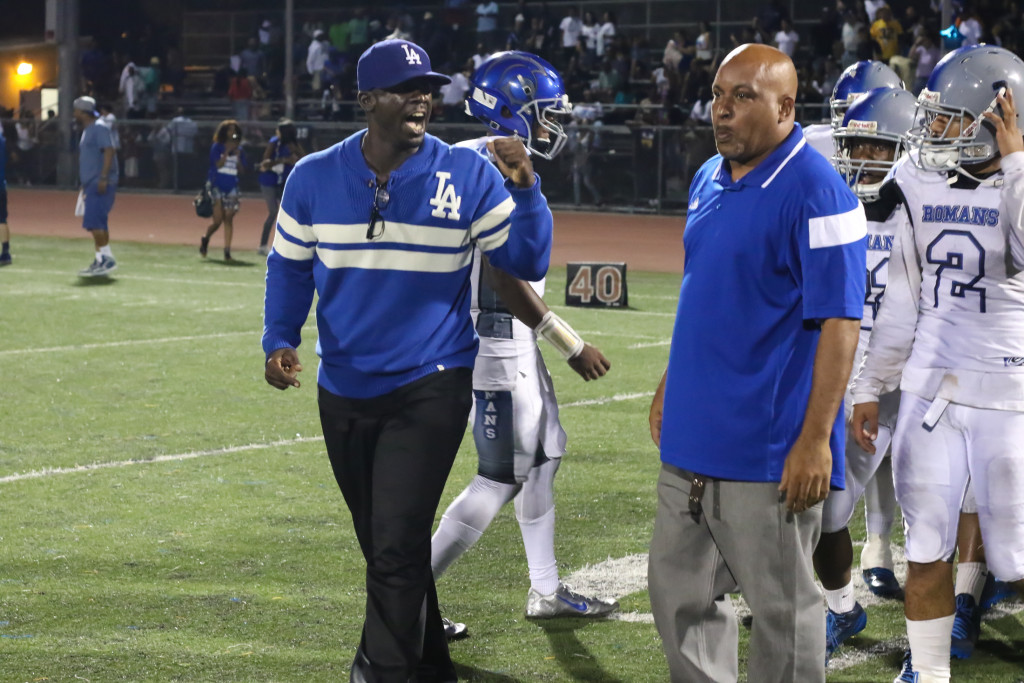 09 Oct. 2015: LA Roman Head Coach Eric Scott Celebrating a Victory over Crenshaw (Photo By Jevone Moore/Full Image 360)