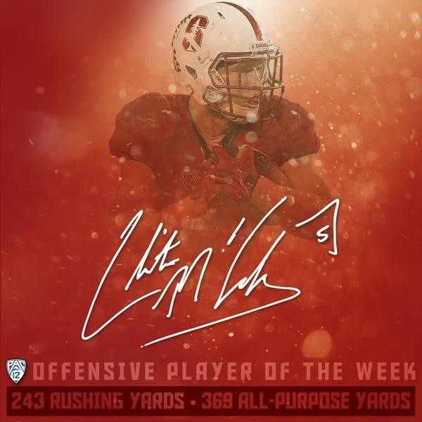 Pac-12 Player of Week Mccafferey (Courtesy Photo Stanford Athletics)