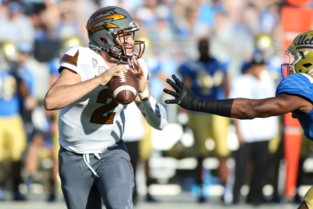 ASU QB Mike Bercovici kept just out of reach of Bruins. Photo by Jevone Moore