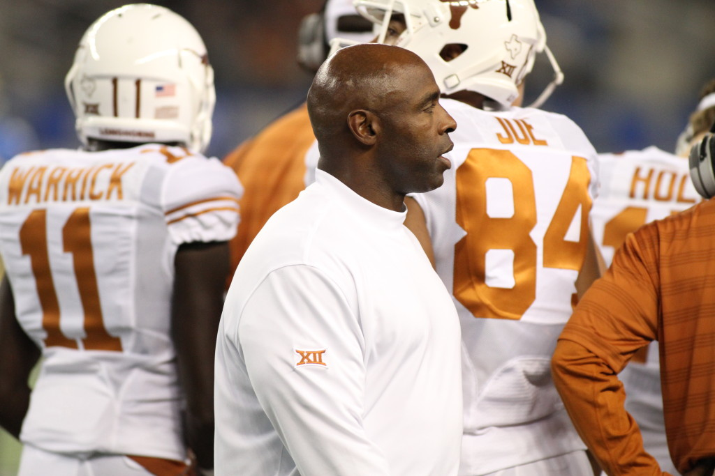 12 Sept 2014: Texas Head Coach Charlie Strong on sideline during Advocare Showdown Ucla Bruins vs Texas Longhorns at AT & T Stadium in Arlington Tx. (Photo by Jevone Moore / Full Image 360)