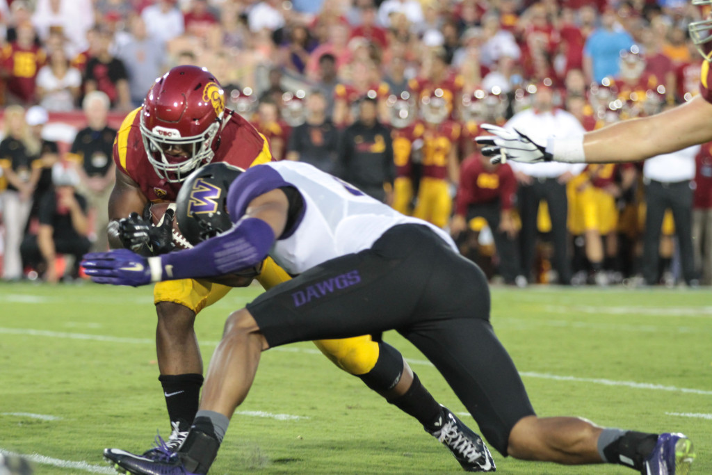 08 Oct. 2015: USC Trojans running back (23) Tre Madden lowing his shoulder during a game against the Washington Huskies played at the Los Angeles Memorial Coliseum. (Photo By Jevone Moore/Full Image 360)