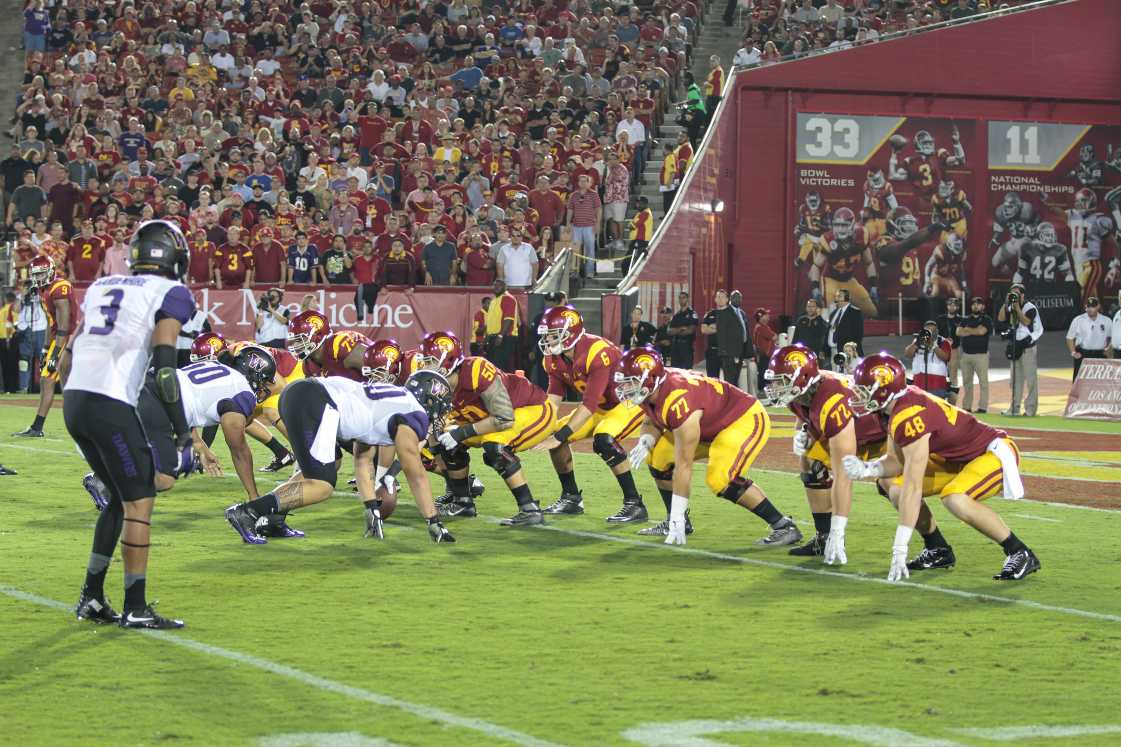 08 Oct. 2015: USC Trojans quarterback (6) Cody Kessler under center pre snap during a game against the Washington Huskies played at the Los Angeles Memorial Coliseum. (Photo By Jevone Moore/full Image 360)