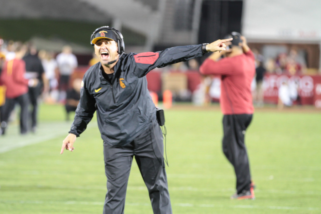 08 Oct. 2015: USC former Head Coach Steve Sarkisian yelling during a game against the USC Trojans played at the Los Angeles Memorial Coliseum. (Photo By Jevone Moore/full Image 360)