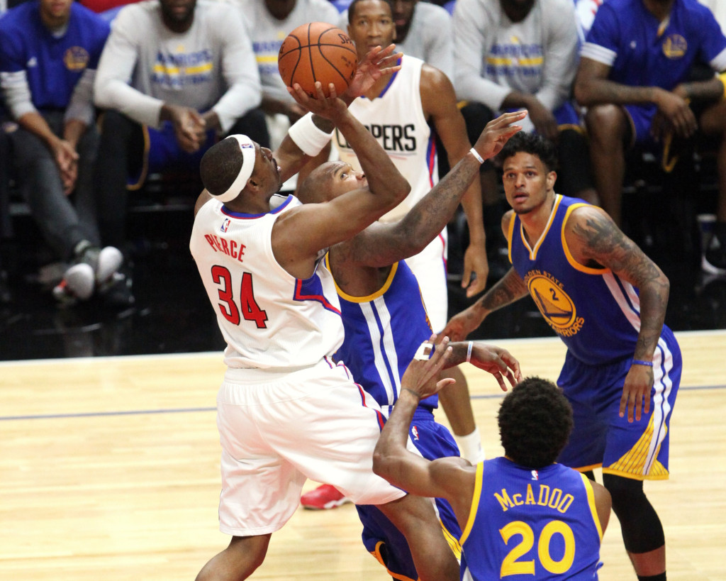 Oct. 20, 2015 - Los Angeles, CA, USA - The Los Angeles Clippers Paul Pierce (34) elevating for jump shot over Golden state Warriors Leandro Barbosa (19) during a preseason playing at Staples Center in Los Angeles on Tuesday, Oct. 20, 2015 (Photo by William Jaye Johnson)