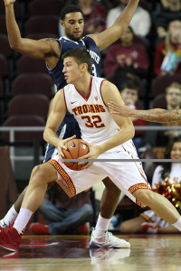 Nov 16, 2015 USC forward Nikola Javanovic getting into the paint during the Monmouth Hawks vs USC Tojans Men's basketball game at the Galen Center in Los Angeles, Ca.  (Photo by Jevone Moore/Full Image 360)