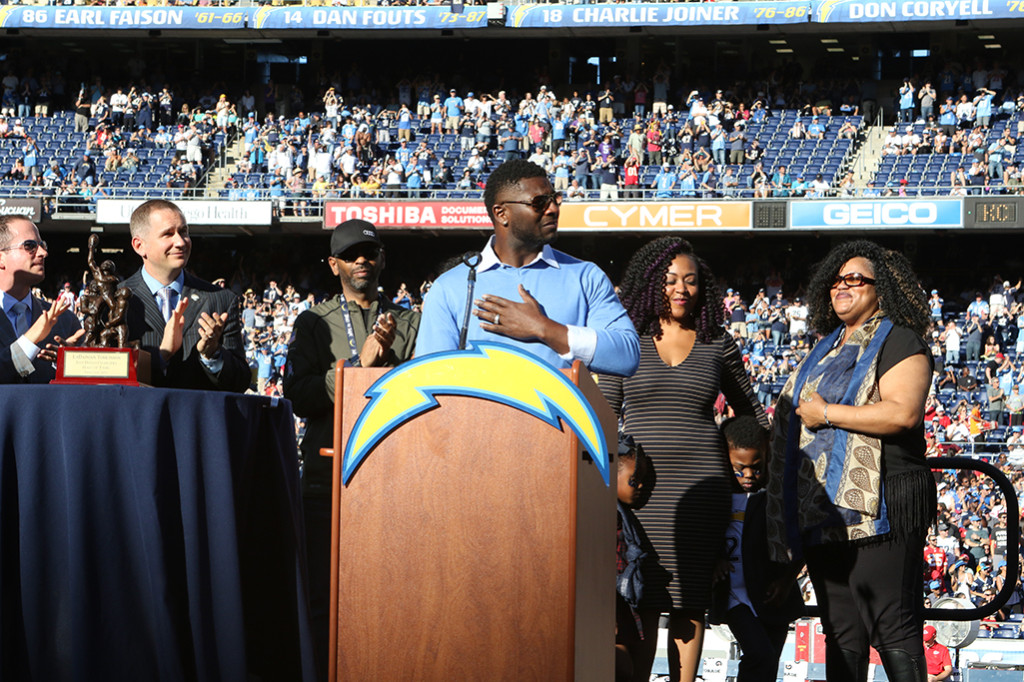 Nov 22 : L.T. LaDainian Tomlinson Hall of Fame Induction / Jersey Retirement Ceremony at the Kansas City Chiefs vs San Diego Chargers at Qualcomm Stadium in San Diego, Ca (Photo by Jevone Moore/Full Image 360)