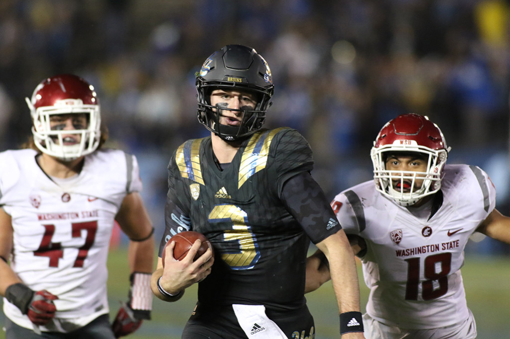 Nov 14, 2015  UCLA quarterback Josh Rosen (3)scrambling for a late 4th quarter touchdown during second half of Washington State vs UCLA football game at the Rose Bowl in Pasadena, Ca(Photo by Jevone Moore/Full Image 360)