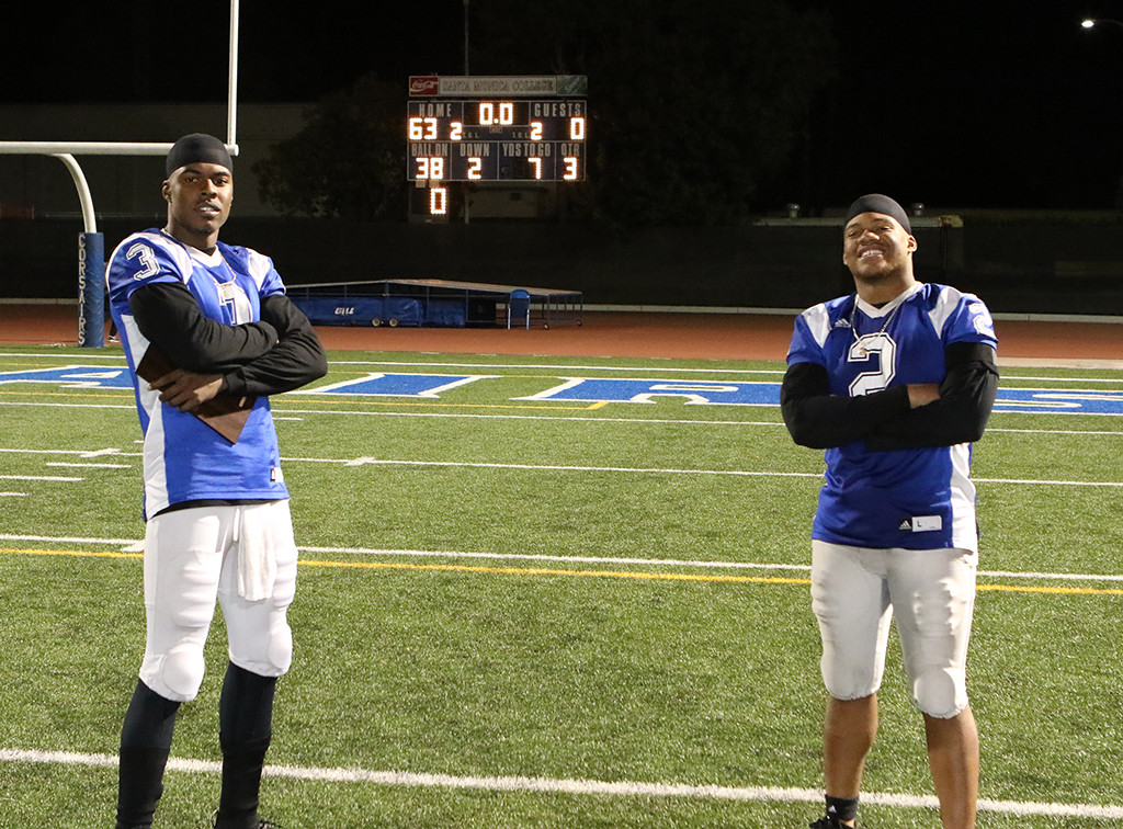 Nov 21 : SMC QB Troy Williams & LB Marquis Lomax after 63-0 Victory in America Division Championship Bowl Victor Valley Rams vs Santa Monica College Corsairs Game action at SMC in Santa Monica, Ca (Photo by Jevone Moore/Full Image 360)