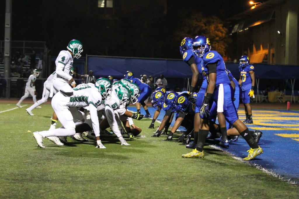 Nov 6 Dorsey Dons vs Crenshaw Cougars lined up for battle. (Photo by Jevone Moore/Full Image 360)