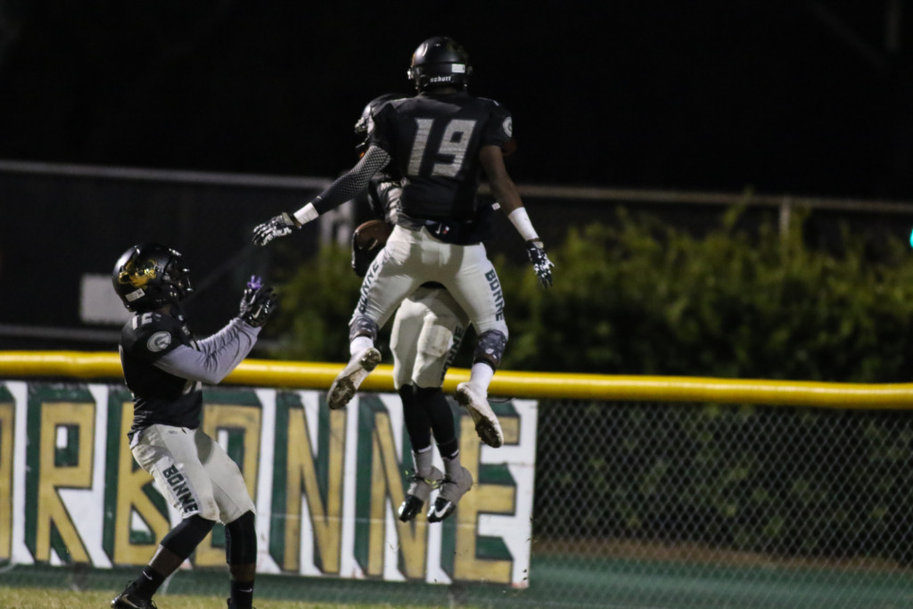 Narbonne Players all fun on checst bumps in endzone during the Dorsey Dons vs Narbonne Gauchos game. (Photo by Jevone Moore/Full Image 360)