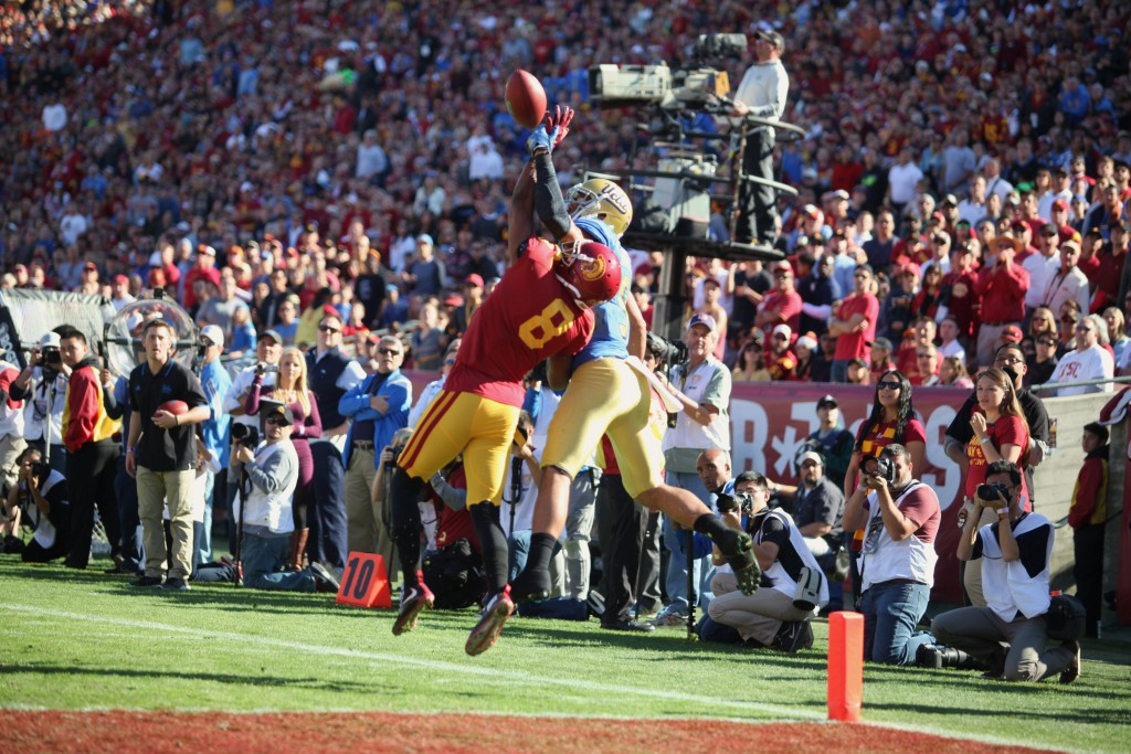 Nov 27: USC Freshman Iman Marshall breaking up a potential TD catch during UCLA vs USC game at Los Angeles Memorial Coliseum. (Photo by William Johnson/fi360 News)