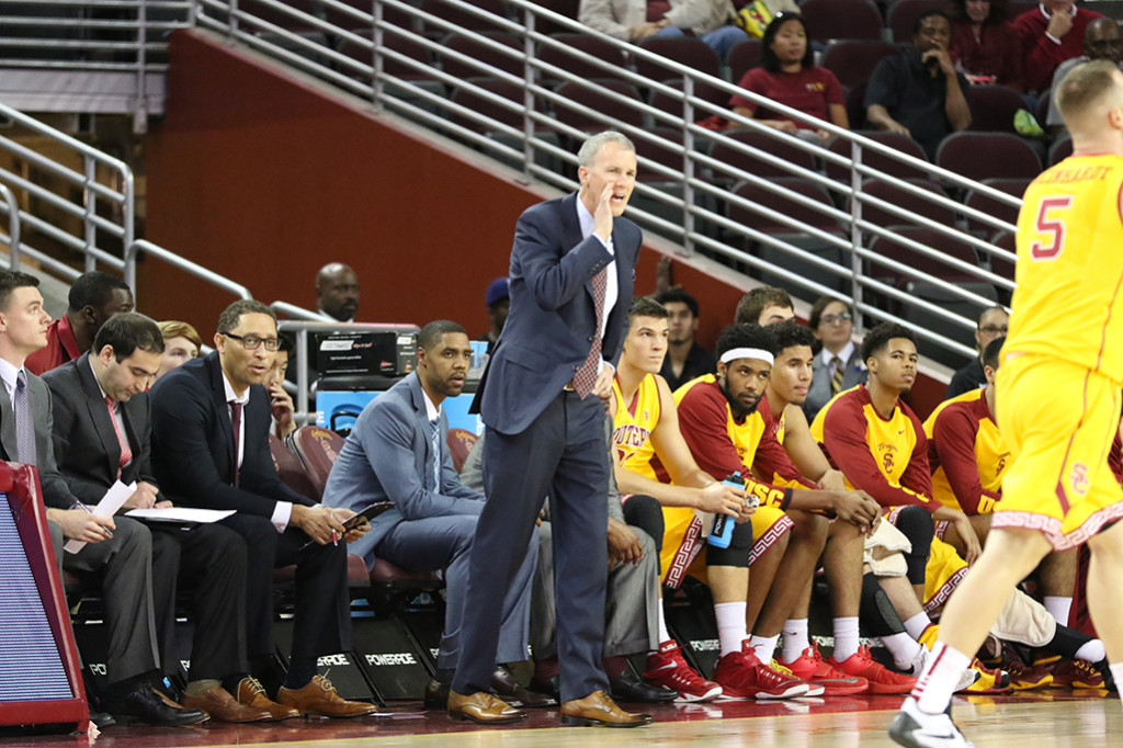 Nov 13 USC Men's Basketball Head Coach Andy Enfield calling out instructions against San Diego during the San Diego vs USC Basketball game at Galen Center in Los Angeles, Ca. (Photo by Jevone Moore/Full Image 360)