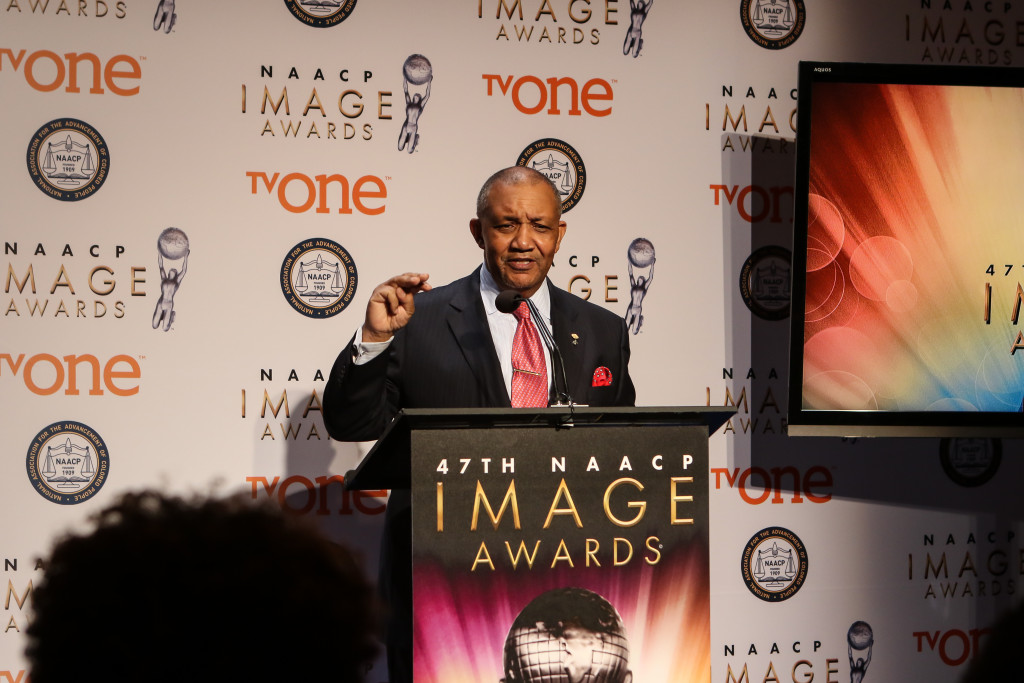 Cornell William Brooks President and CEO, NAACP speaking at the 47th NAACP IMAGE AWARDS Press Conference on Tuesday, Dec. 8th, 2015. (Photo by Jevone Moore/Full Image 360)