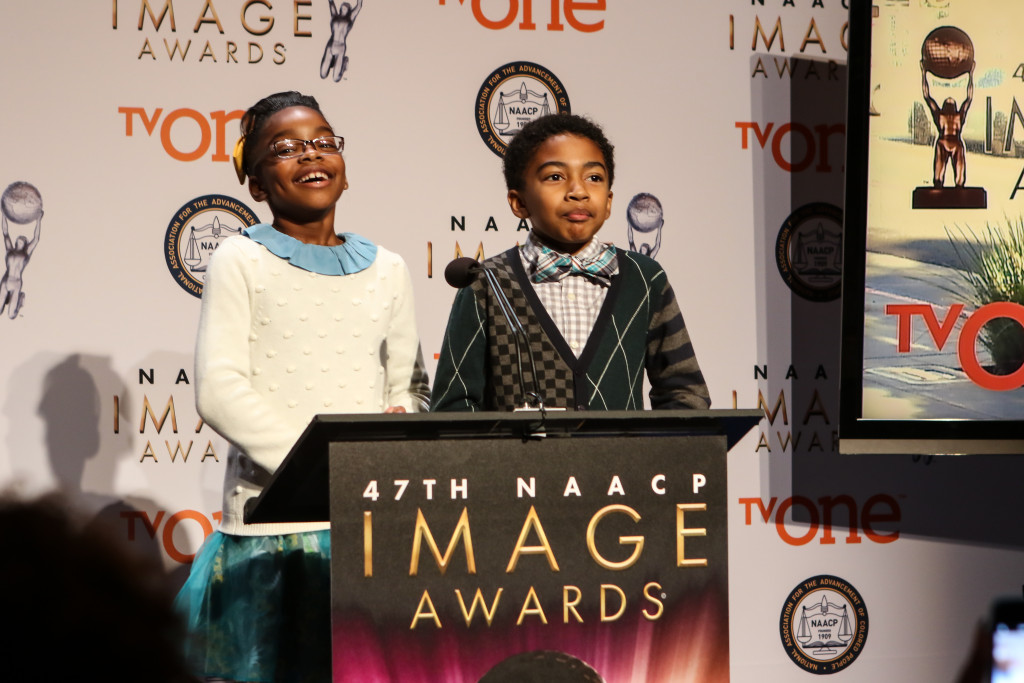 Marsai Martain & Miles Brown at the 47th NAACP IMAGE AWARDS Press Conference Tuesday, Dec. 8th, 2015. (Photo by Jevone Moore/Full Image 360)