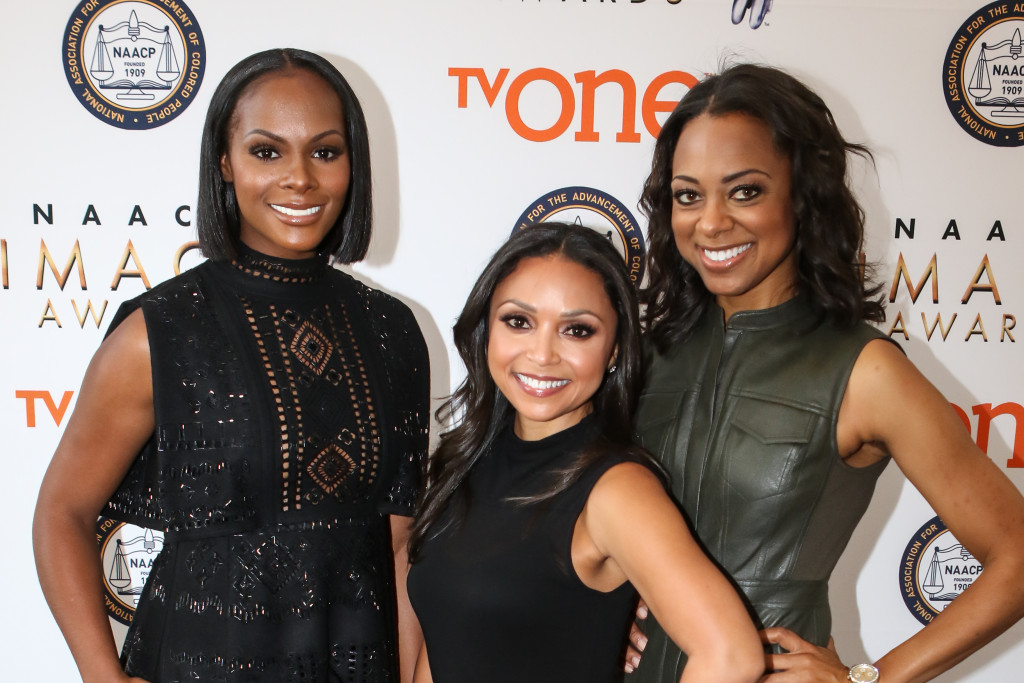 Tika Sumpter (L), Danielle Nicolet (C), Nischelle Turner (R) at the 47th NAACP IMAGE AWARDS Press Conference Red Carpet on Tuesday, Dec. 8th, 2015. (Photo by Jevone Moore/Full Image 360)