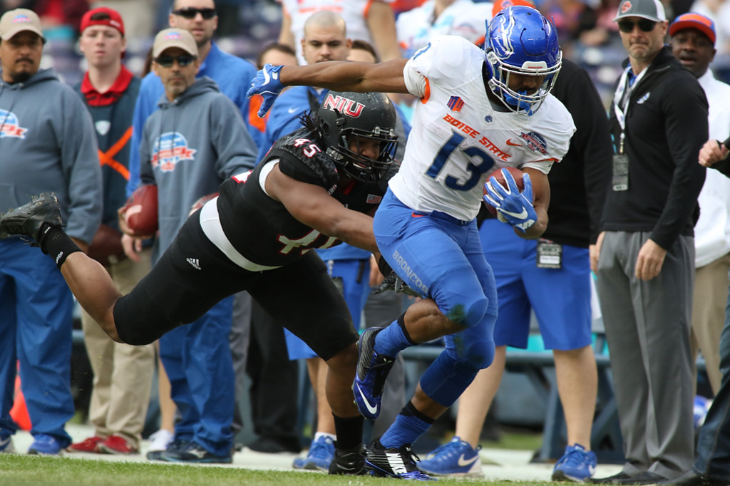Boise State Broncos running back Jeremy McNichols (13) tip toe down the line in the first half game action during Poinsettia Bowl - Bosie State vs Northern Illinois Wednesday Dec 23rd, 2015. (Photo by Jevone Moore/fi360 News)