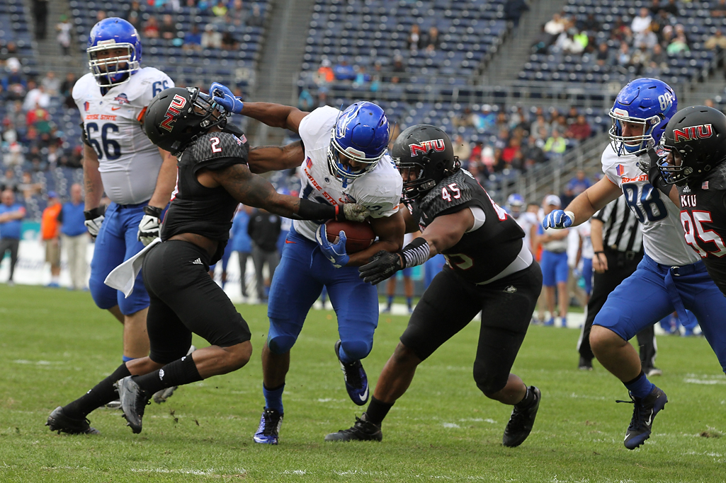 Boise State Broncos running back Jeremy McNichols (13) find running lane in the first half during Poinsettia Bowl - Bosie State vs Northern Illinois Wednesday Dec 23rd, 2015. (Photo by Jevone Moore/fi360 News)