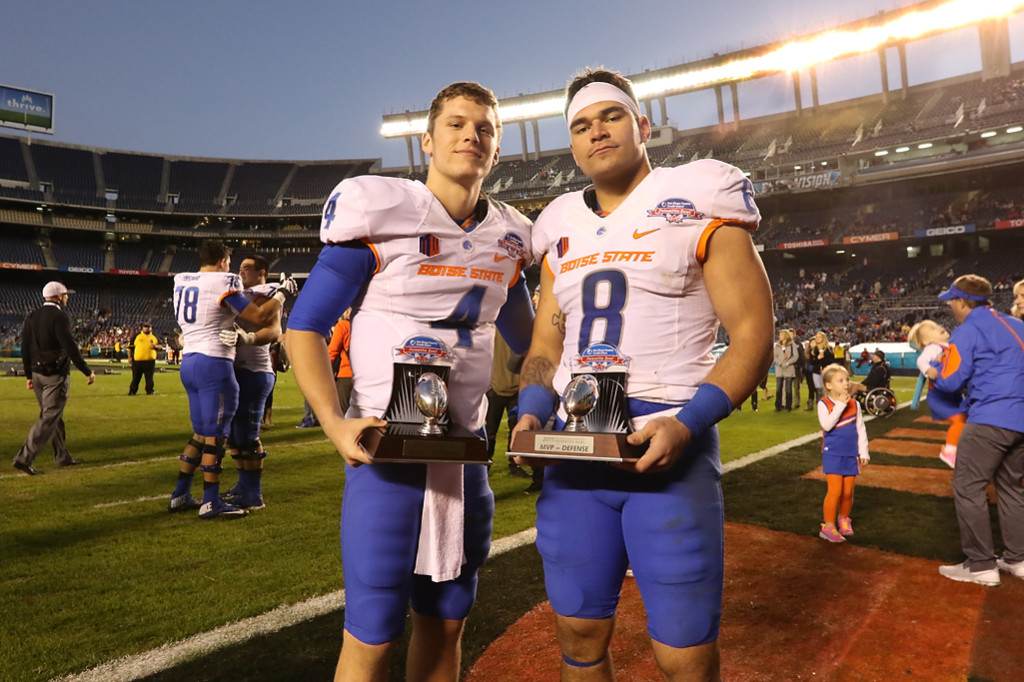 The Poinsettia Bowl Offensive & Defensive MVP Brett Rypien (4), Kamalei Correa (8) - Bosie State vs Northern Illinois Wednesday Dec 23rd, 2015. (Photo by Jevone Moore/fi360 News)