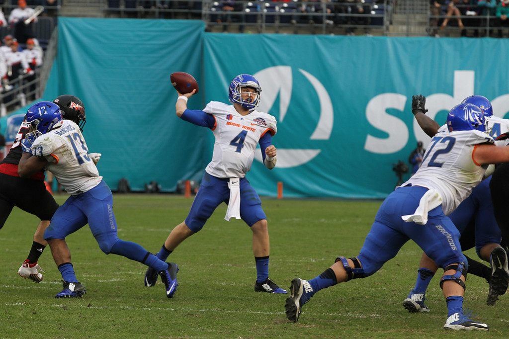 Boise State Broncos quarterback Brett Rypien (4) back to pass in the second half during the Poinsettia Bowl - Bosie State vs Northern Illinois Wednesday Dec 23rd, 2015. (Photo by Jevone Moore/fi360 News)