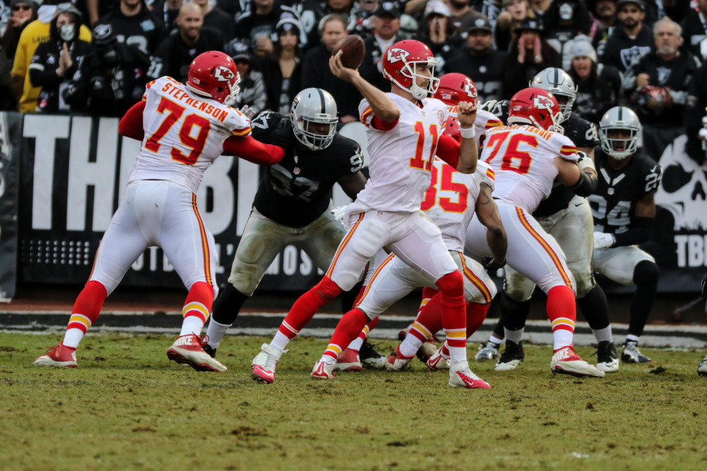 Dec 6: NFLKansas City Chiefs quarterback Alex Smith (11) back to pass in the Second half game action Kansas City Cheifs vs Oakland Raiders at Oakland Coliseum in Oakland Ca. (Photo by Jevone Moore/Full Image 360)