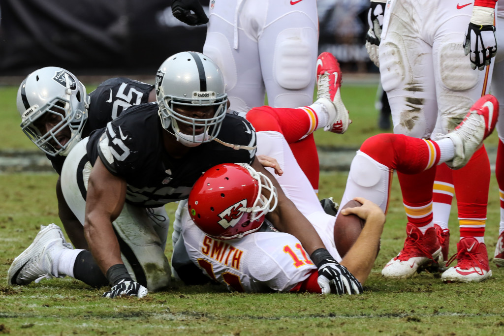 Dec 6: NFL First half game action Kansas City Cheifs vs Oakland Raiders at Oakland Coliseum in Oakland Ca. (Photo by Jevone Moore/Full Image 360)