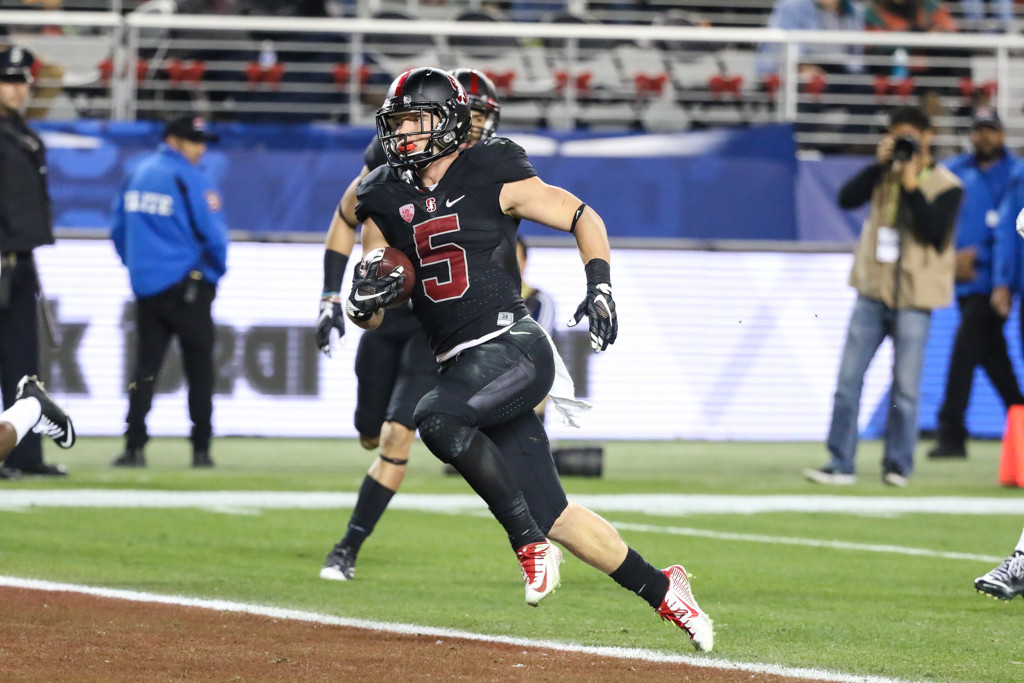 Dec 5: Stanford Cardinal running back Christian McCaffrey (5)  2015 Football Championship at Levi's Stadium in Santa Clara, Ca. (Photo by Jevone Moore/Full Image 360)