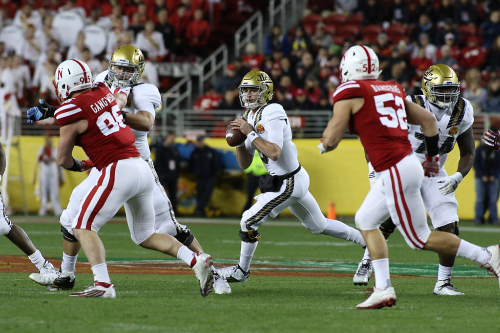 UCLA Bruins quarterback Josh Rosen (3) rolling with the pocket during the Foster Farms Bowl between the UCLA Bruins and the Nebraska Cornhuskers on Saturday Dec 26th, 2015. (Photo by Jevone Moore/fi360 News)
