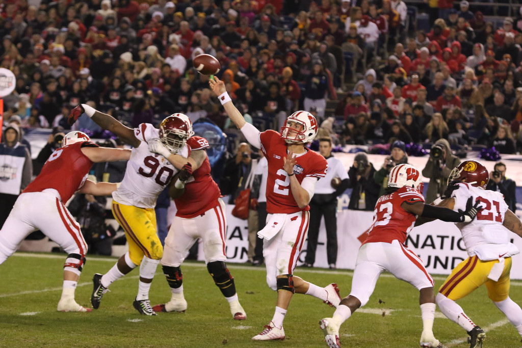 Wisconsin Badgers quarterback Joel Stave (2) throwing a pass during the National Funding Holiday Bowl between the USC Trojans vs Wisconsin Badgers on Wednesday Dec 30th, 2015. (Photo by Jevone Moore/fi360 News)