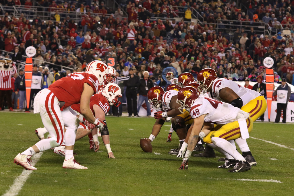 College Football game action during the National Funding Holiday Bowl between the USC Trojans vs Wisconsin Badgers on Wednesday Dec 30th, 2015. (Photo by Jevone Moore/fi360 News)