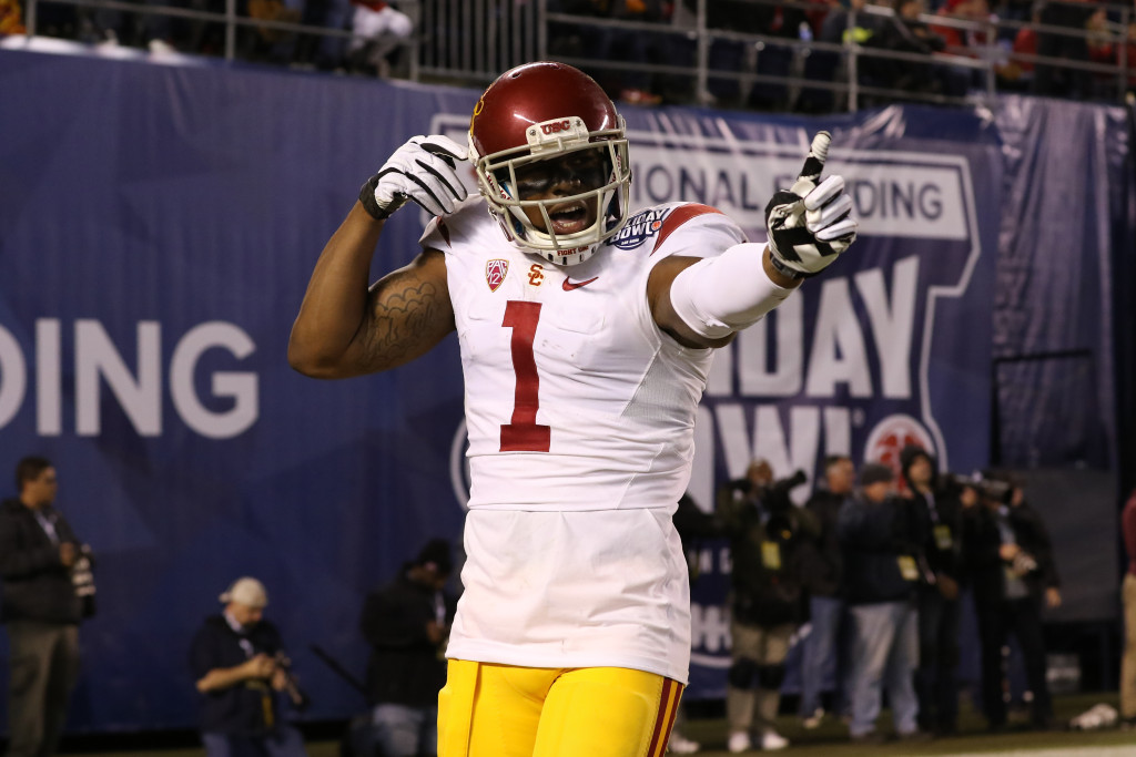 USC Trojans wide receiver Darreus Rogers (1) celebrates after a touchdown catch during the National Funding Holiday Bowl between the USC Trojans vs Wisconsin Badgers on Wednesday Dec 30th, 2015. (Photo by Jevone Moore/fi360 News)