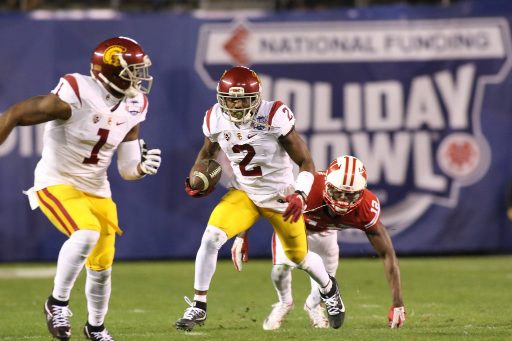 USC Trojans cornerback Adoree' Jackson (2) College Football game action during the National Funding Holiday Bowl between the USC Trojans vs Wisconsin Badgers on Wednesday Dec 30th, 2015. (Photo by Jevone Moore/fi360 News)