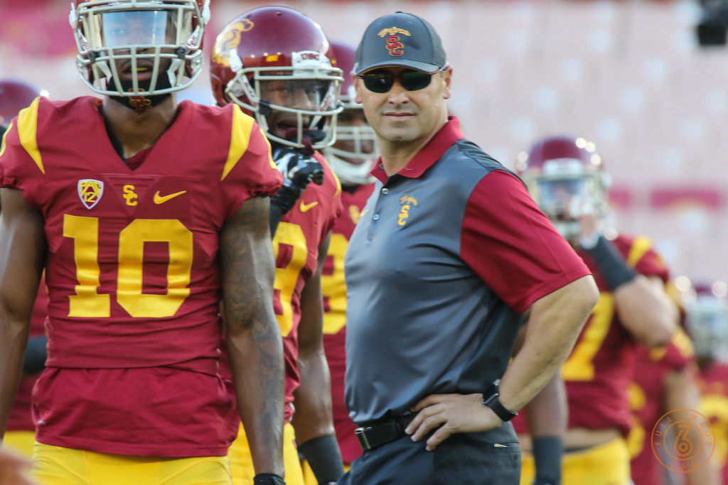 Oct 8: USC Coach Sarkisian with Jalen Greene during pregame of the Washington vs USC at Los Angeles Memorial Coliseum. (Photo by Jevone Moore/Full Image 360)