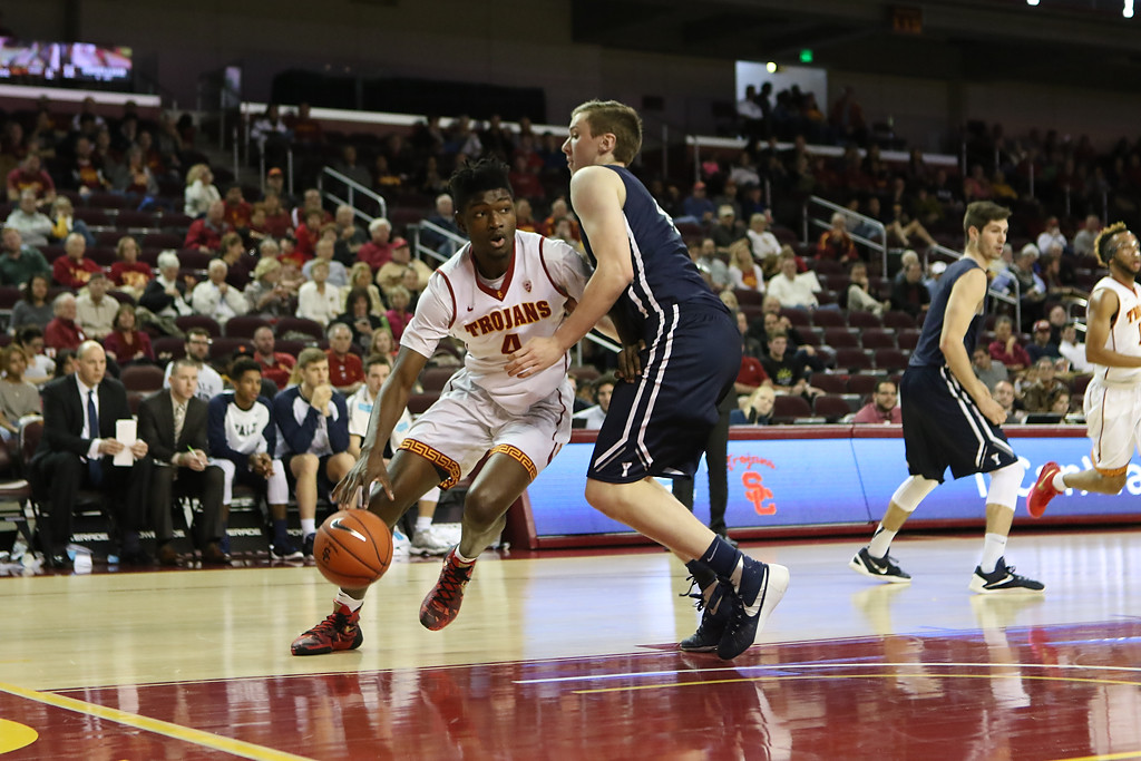 Pac-12 Men's Basketball USC Trojans vs Yale Bulldogs Freshman USC Trojans forward Chimezie Metu (4) on spin move in the first half game action at the Galen Center on Dec. 13th, 2015. (Photo by Jevone Moore/Full Image 360)
