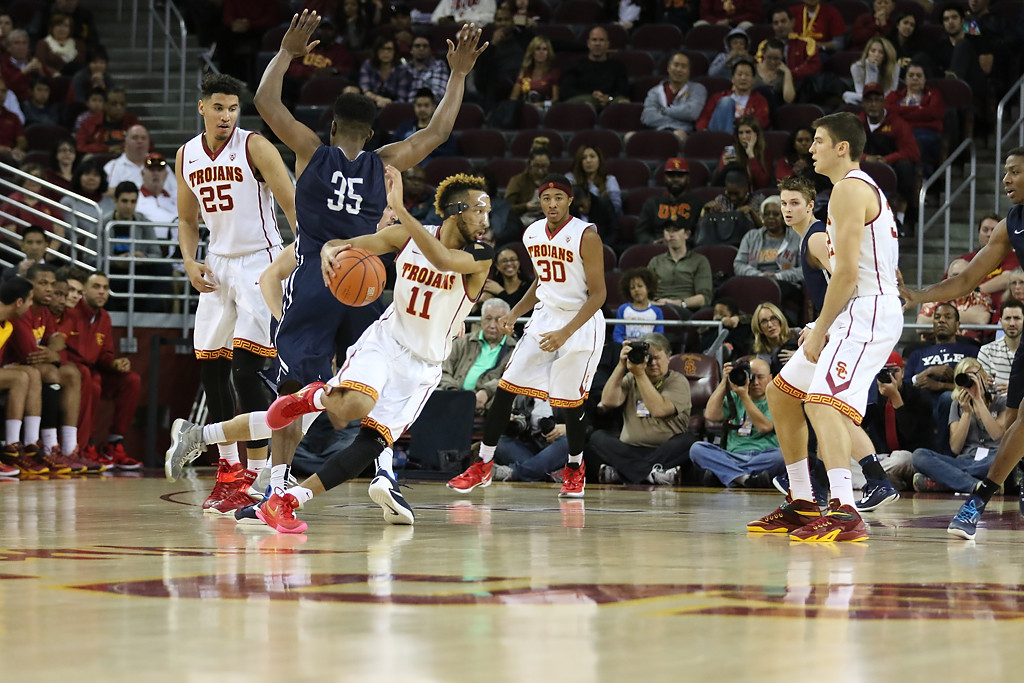 USC Trojans guard Jordan McLaughlin (11) looking for space in the lane during second half in the Pac-12 Men's Basketball USC Trojans vs Yale Bulldogs game action at the Galen Center on Dec. 13th, 2015. (Photo by Jevone Moore/Full Image 360)