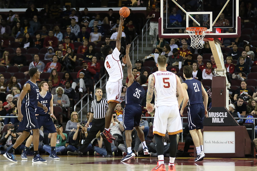 USC Trojans forward Chimezie Metu (4) shooting over Yale Bulldogs forward Brandon Sherrod (35) during the Pac-12 Men's Basketball USC Trojans vs Yale Bulldogs in the second half game action at the Galen Center on Dec. 13th, 2015. (Photo by Jevone Moore/Full Image 360)