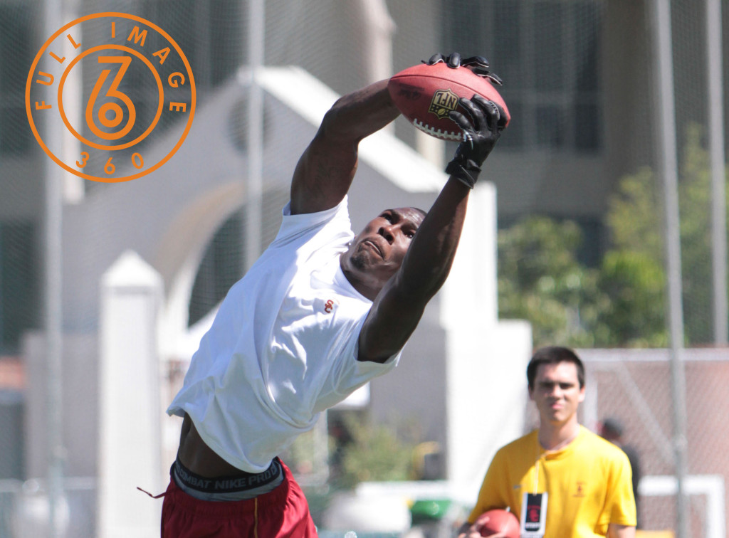 USC NFL Pro Day 2014 M. Lee showing off his hands during field drills. (Photo by Jevone Moore/Full Image 360)
