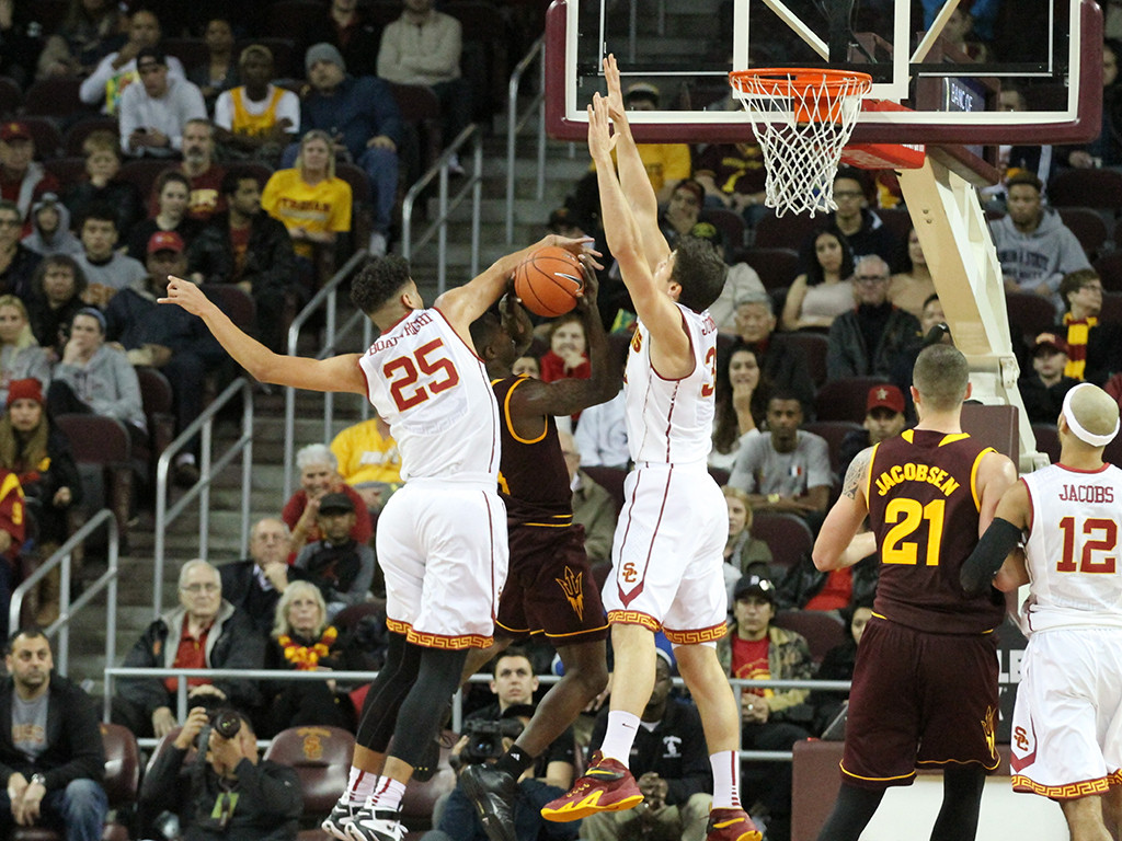 USC Trojans forward Bennie Boatwright (25) on the block of ASU during the college basketball game between the Arizona State Sun Devils and the USC Trojans at Galen Center in Los Angeles, CA. (Photo by Jevone Moore/Full Image 360)