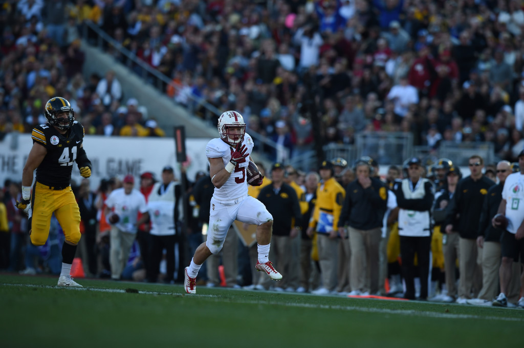 College Football game action during the 102nd Rose Bowl Game Stanford Cardinals vs Iowa Hawkeyes   2016. (Photo by  Jevone Moore/fi360 News)
