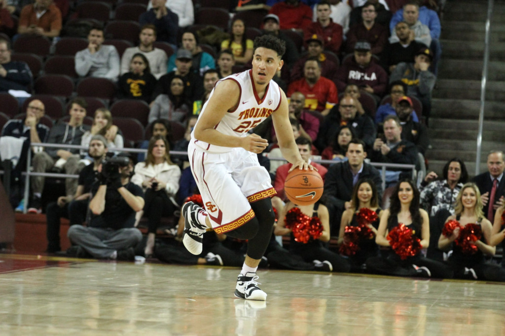 USC Trojans forward Bennie Boatwright (25) advance the ball during the college basketball game between the Arizona State Sun Devils and the USC Trojans at Galen Center in Los Angeles, CA. (Photo by Jevone Moore/Full Image 360)