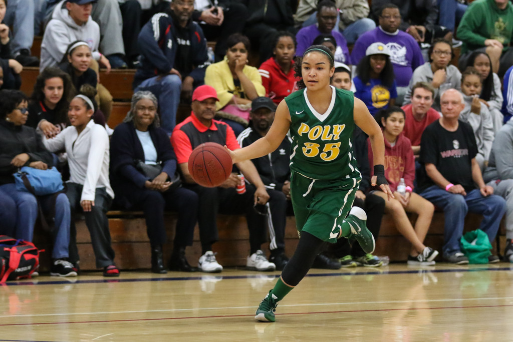 High School Basketball Long Beach Poly Lady Jackrabbits Guard Cierra Belvin (35) dribbling in space during the MLK Cavalier Extravaganza between the Lakeside Lancers and the Long Beach Poly Lady Jackrabbits at JSerra High School in Gardena, CA. (Photo by  Jevone Moore/Full Image 360)