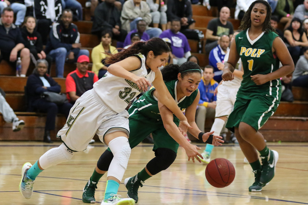 High School Basketball game action during the MLK Cavalier Extravaganza game between the Lakeside Lancers and the Long Beach Poly Lady Jackrabbits at JSerra High School in Gardena, CA. (Photo by Jevone Moore/Full Image 360)