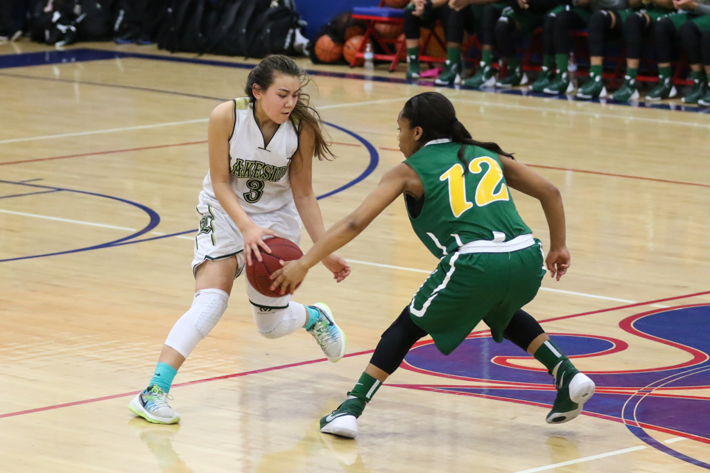 High School Basketball game action during the MLK Cavalier Extravaganza between the Lakeside Lancers and the Long Beach Poly Lady Jackrabbits at JSerra High School in Gardena, CA. (Photo by Jevone Moore/Full Image 360)