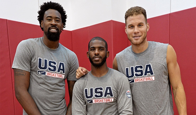 DeAndre Jordan, Chris Paul, & Blake Griffin pose with their USA shirts. Courtesy Photo Los Angeles Clippers