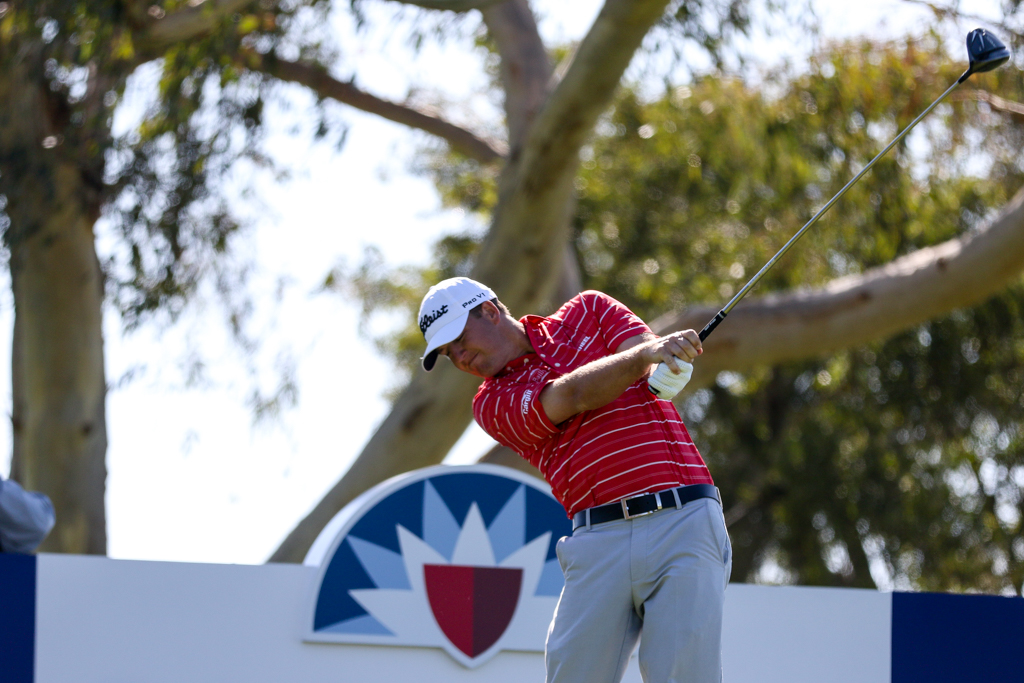 Tom Hoge teeing off on 15th at the South Course in the second round action of PGA Golf during the Farmers Insurance Open at Torrey Pines in San Diego, CA. (Photo by Jevone Moore/Full Image 360)