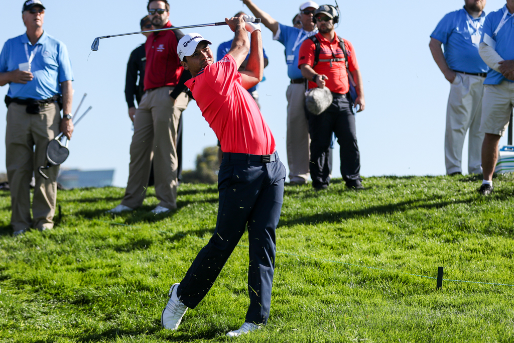 Jason Day on 12th at the South Course in the second round action of PGA Golf during the Farmers Insurance Open at Torrey Pines in San Diego, CA. (Photo by Jevone Moore/Full Image 360)