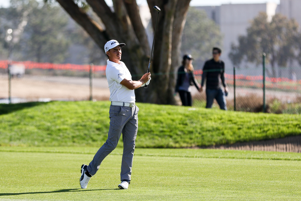 Rickie Fowler on 12th at the South Course in the second round action of PGA Golf during the Farmers Insurance Open at Torrey Pines in San Diego, CA. (Photo by Jevone Moore/Full Image 360)