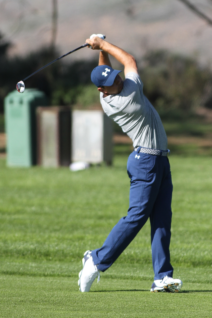Gary Woodland on 13th at the South Course in the second round action of PGA Golf during the Farmers Insurance Open at Torrey Pines in San Diego, CA. (Photo by Jevone Moore/Full Image 360)